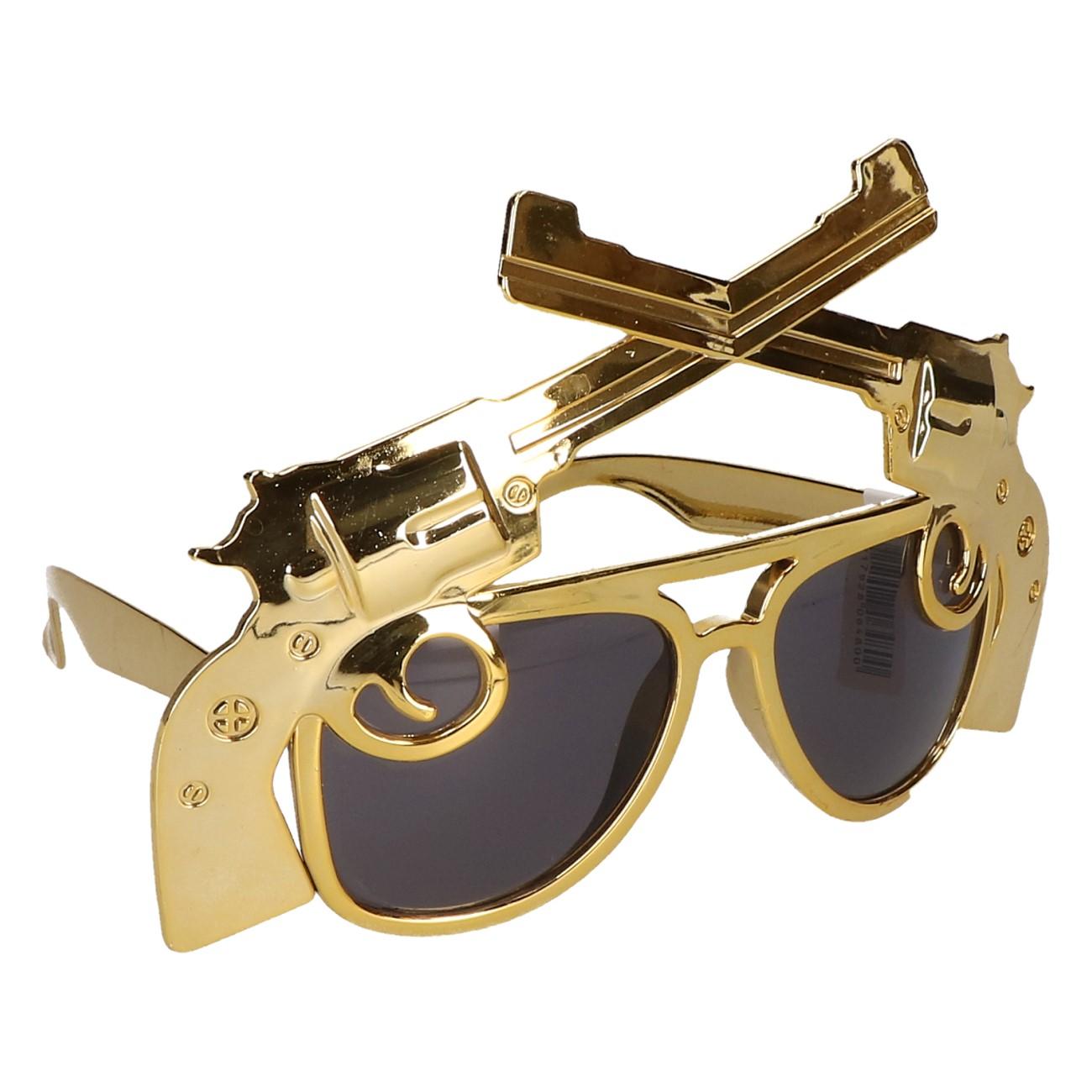 Partybril gouden revolvers