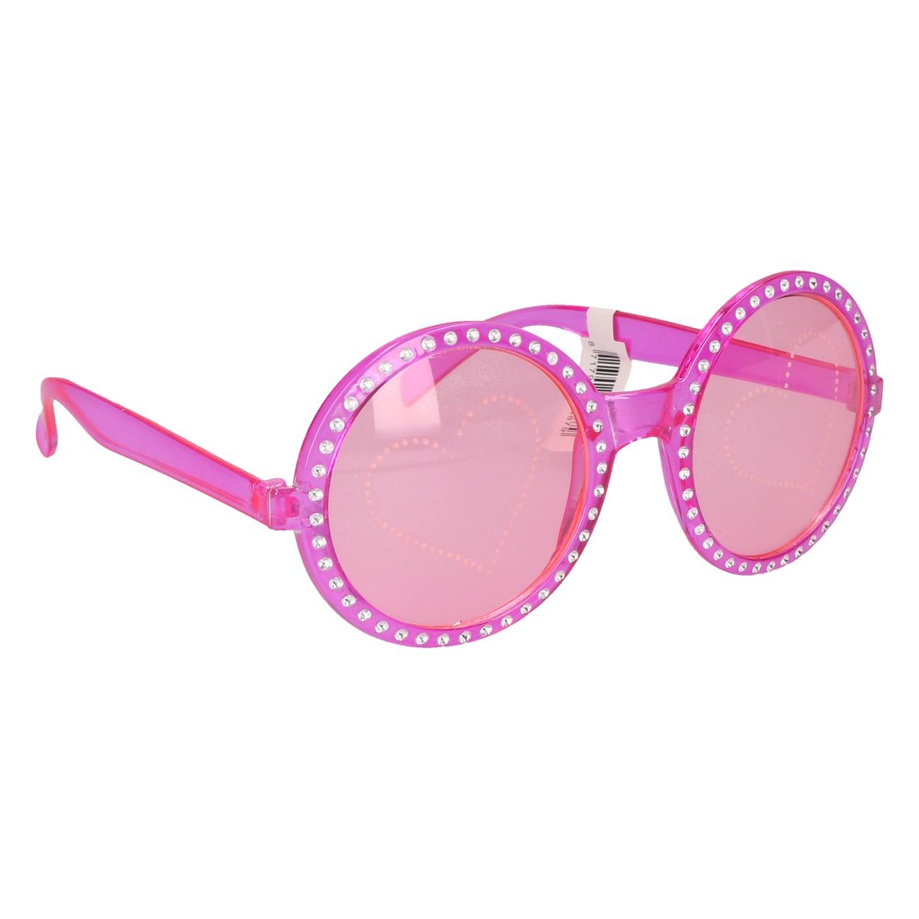 Partybril roze met bling/hart