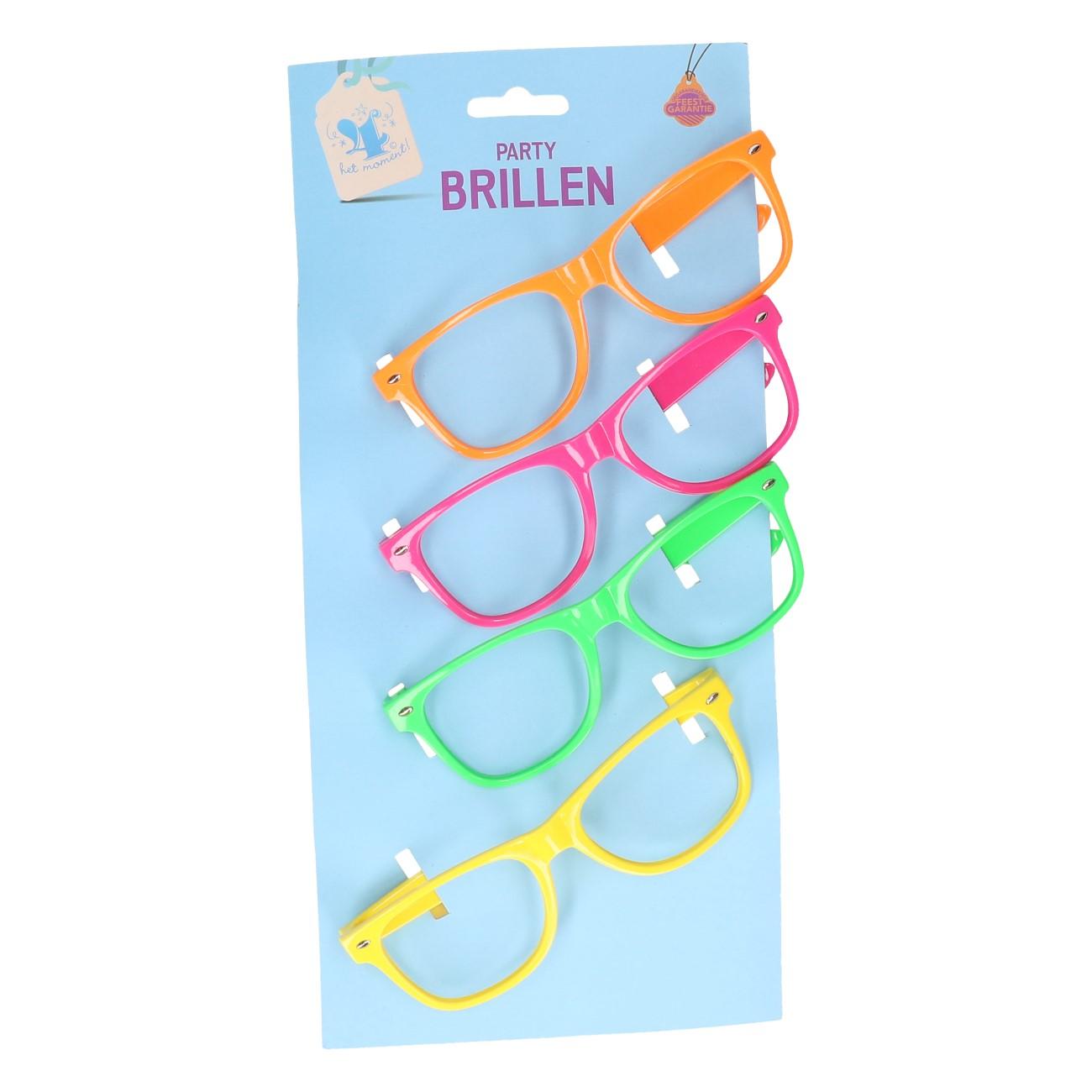Partybrillen neon 4 stuks