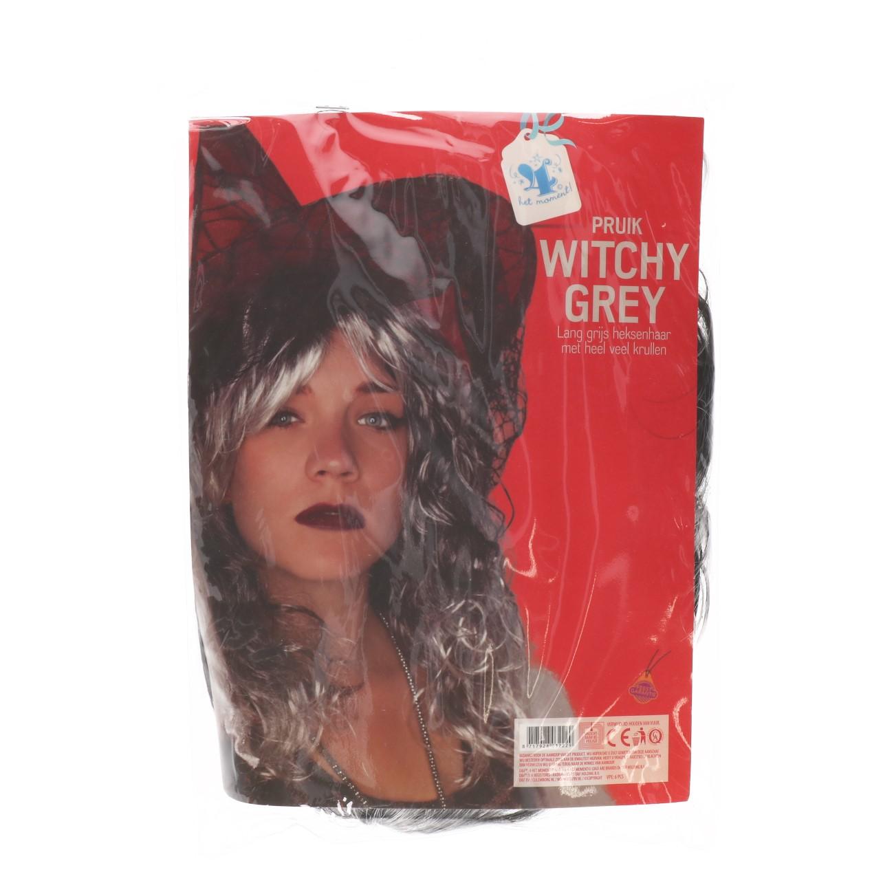Pruik witchy grey