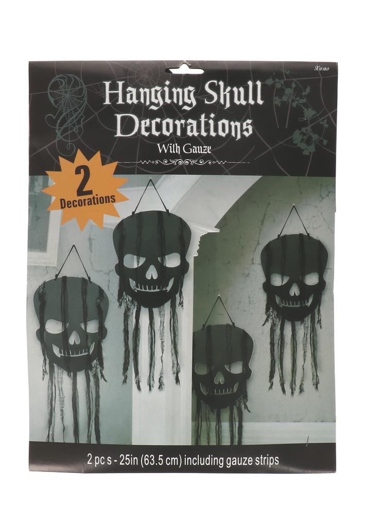 Schedel deocoratie halloween 2 stuks