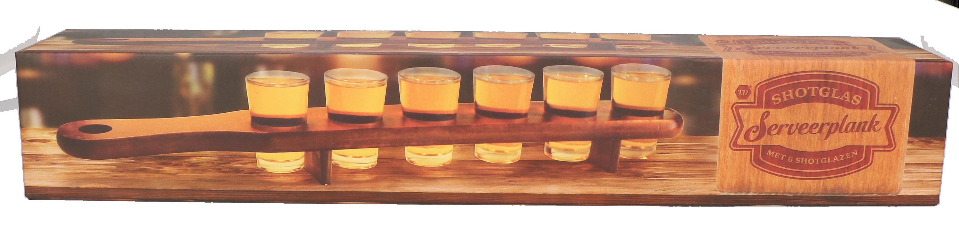 Shot glas plank met shotglazen