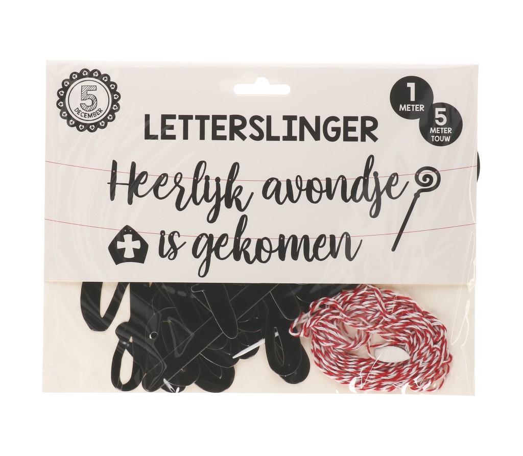 Sint zwart-wit letterslinger