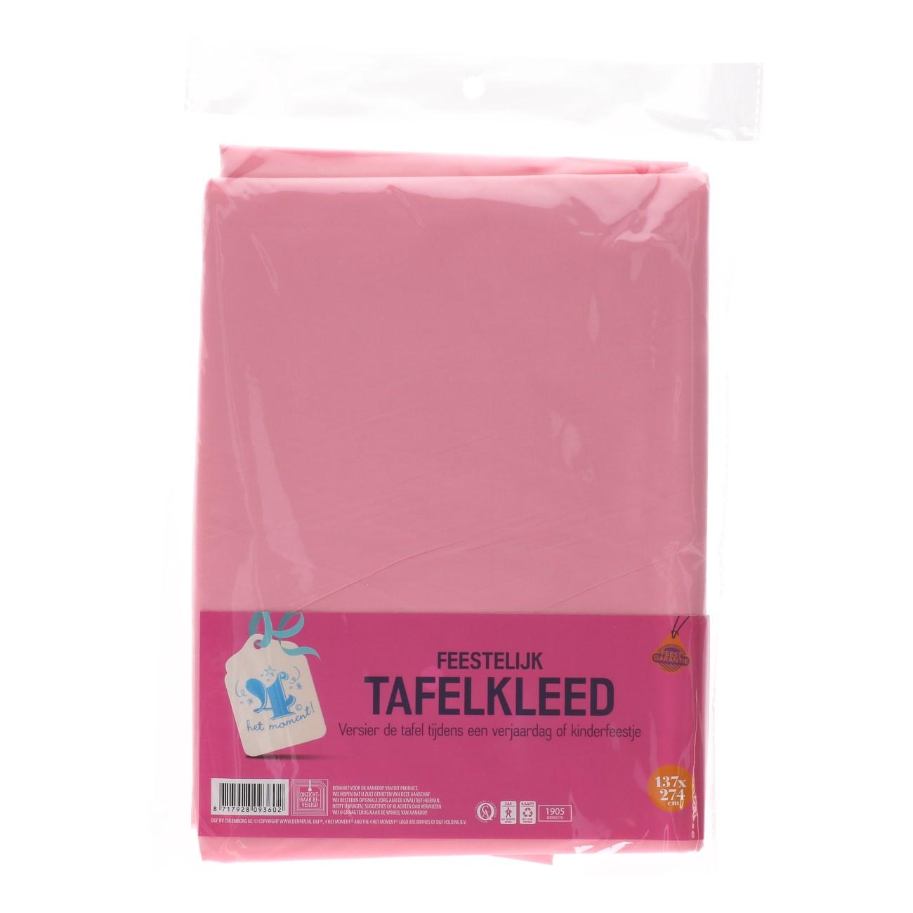 Tafelkleed roze 137x274cm