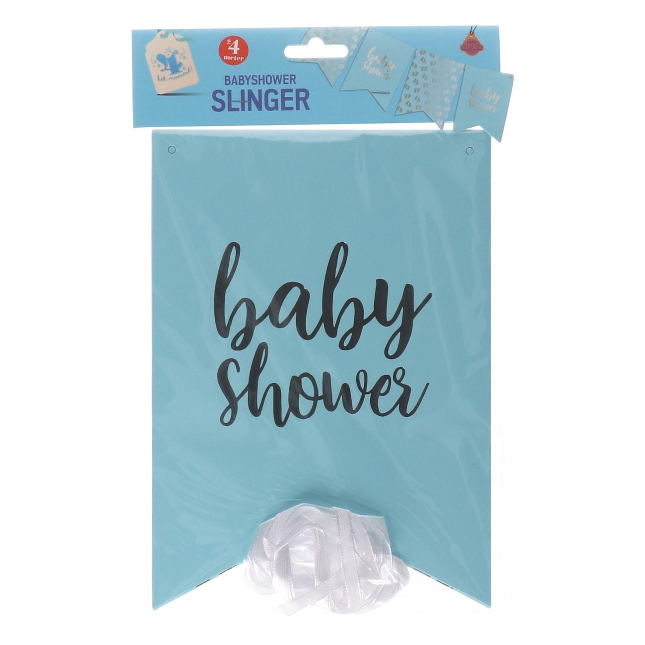 Vlaggenlijn baby shower blauw