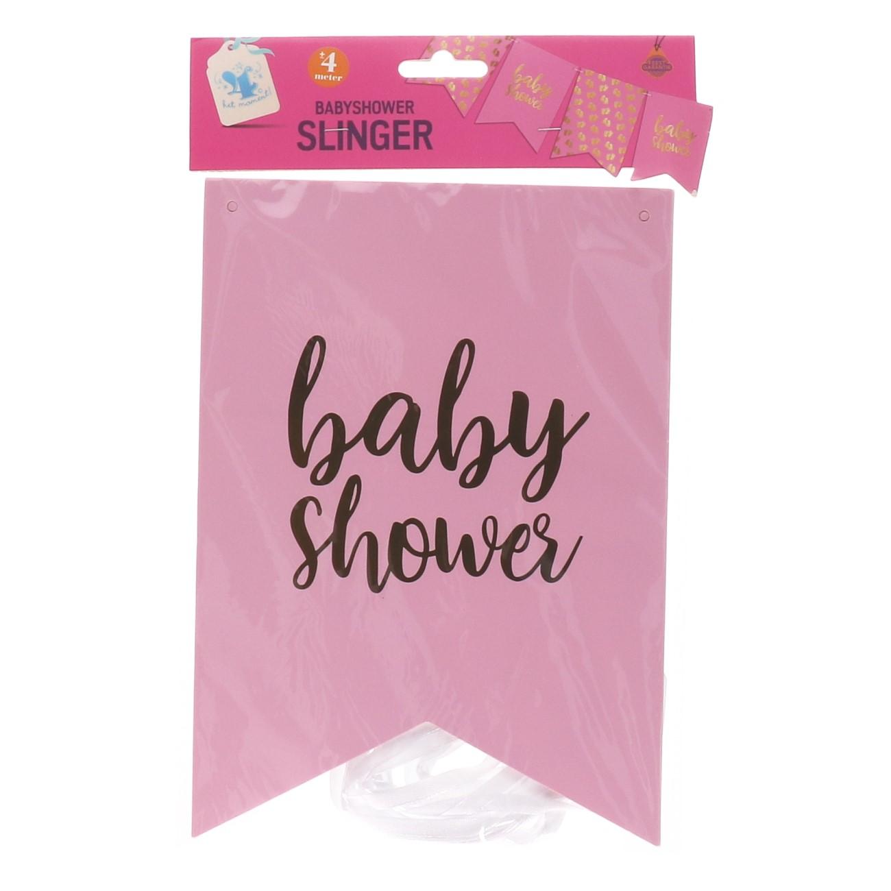 Vlaggenlijn baby shower roze