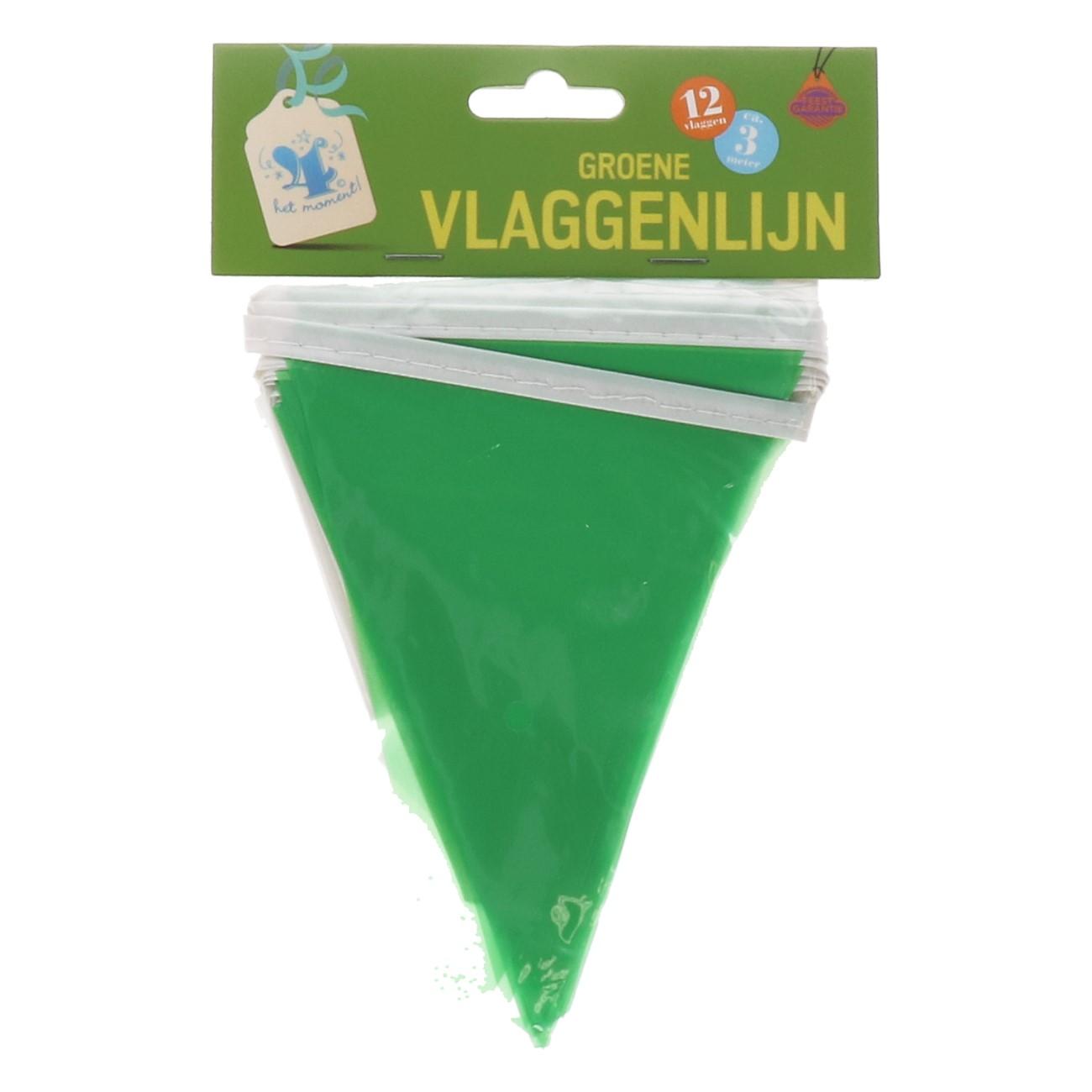 Vlaggenlijn groene 12 vlaggen ca.3m