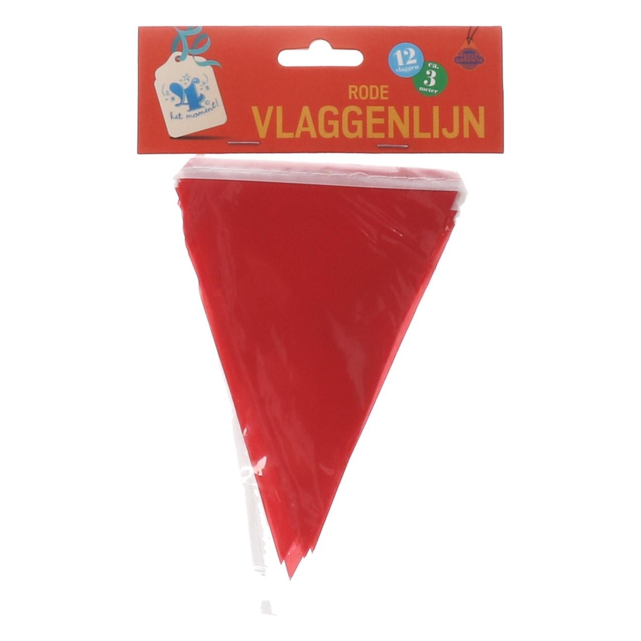 Vlaggenlijn rode 12 vlaggen ca.3m