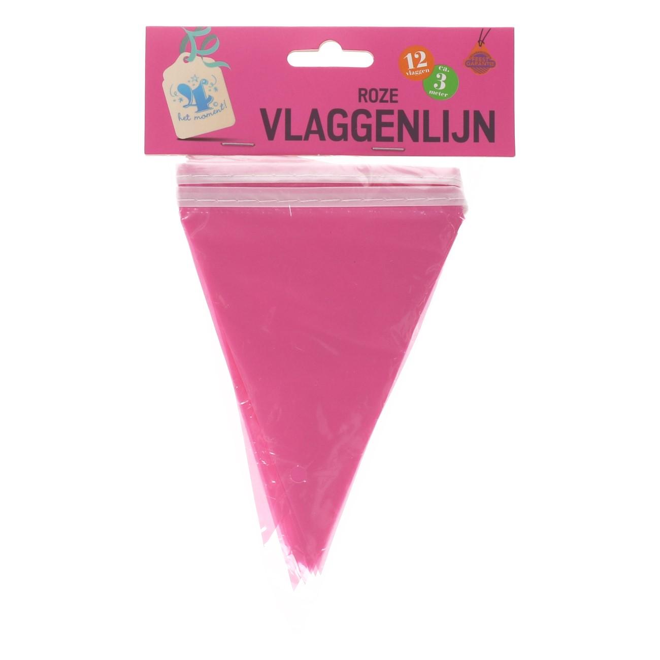 Vlaggenlijn roze 12 vlaggen ca.3m