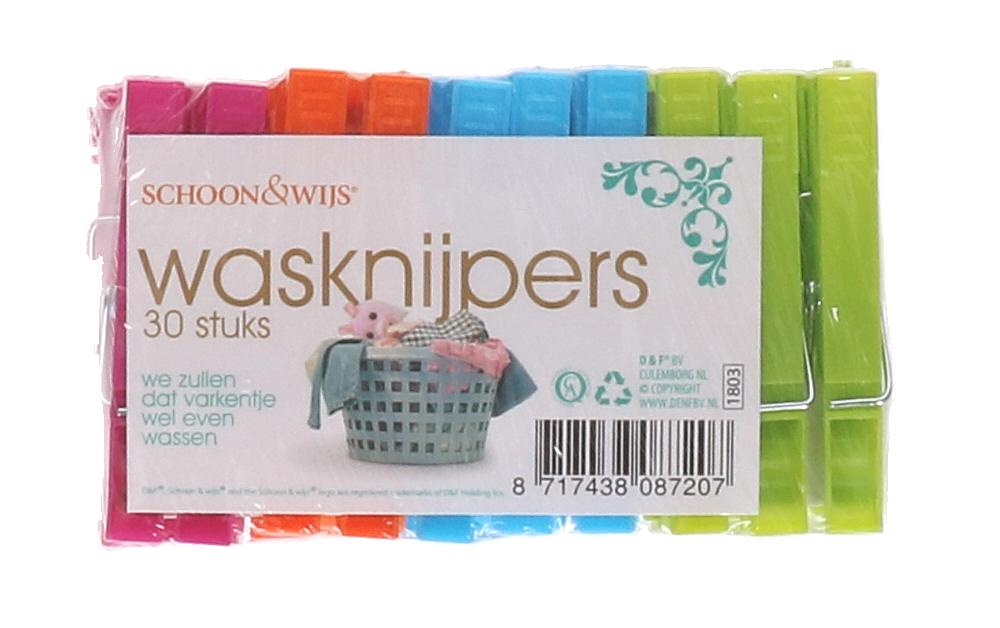 Wasknijpers gekleurd 30stuks