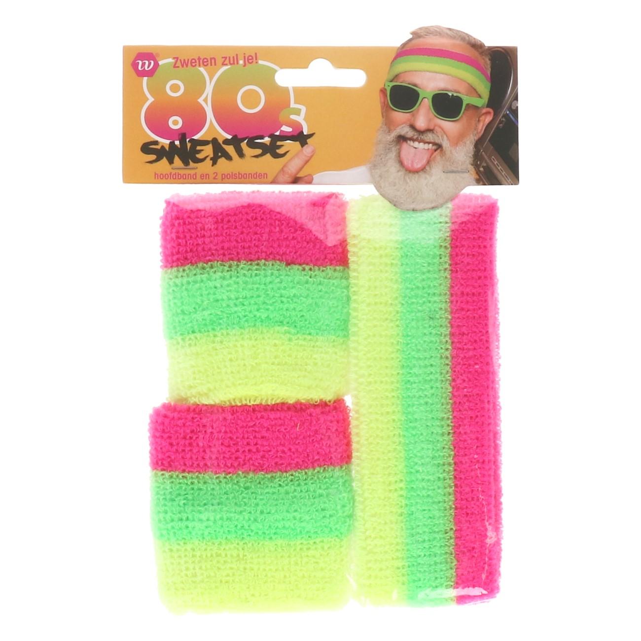 Zweetband hoofd+pols 80's sweatset