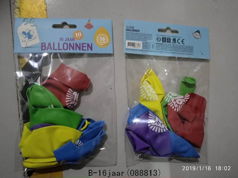 Ballonnen 16 jaar 10 stuks gekleurd