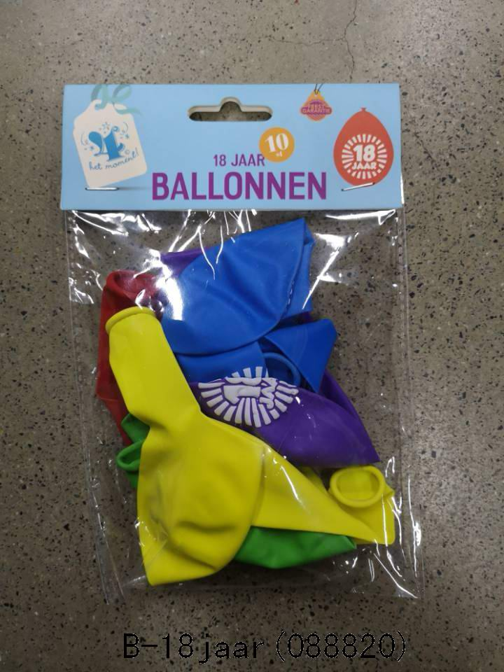 Ballonnen 18 jaar 10 stuks gekleurd