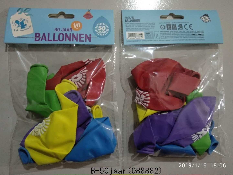 Ballonnen 50 jaar 10 stuks gekleurd