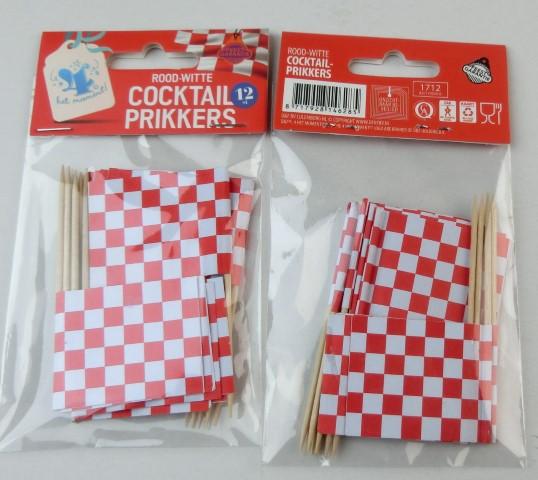 Cocktail prikkers rood wit