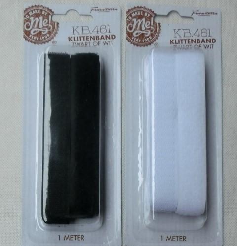 Klittenband zwart / wit 1 mtr