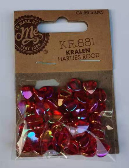 Kralen hartjes rood kr.681