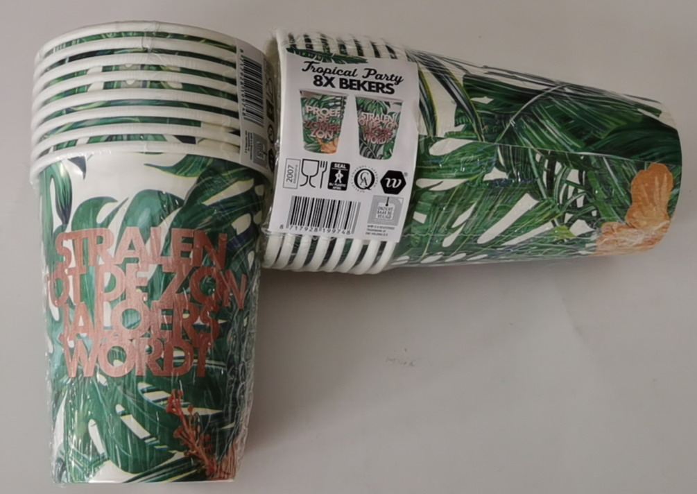 Tropical party 8x bekers