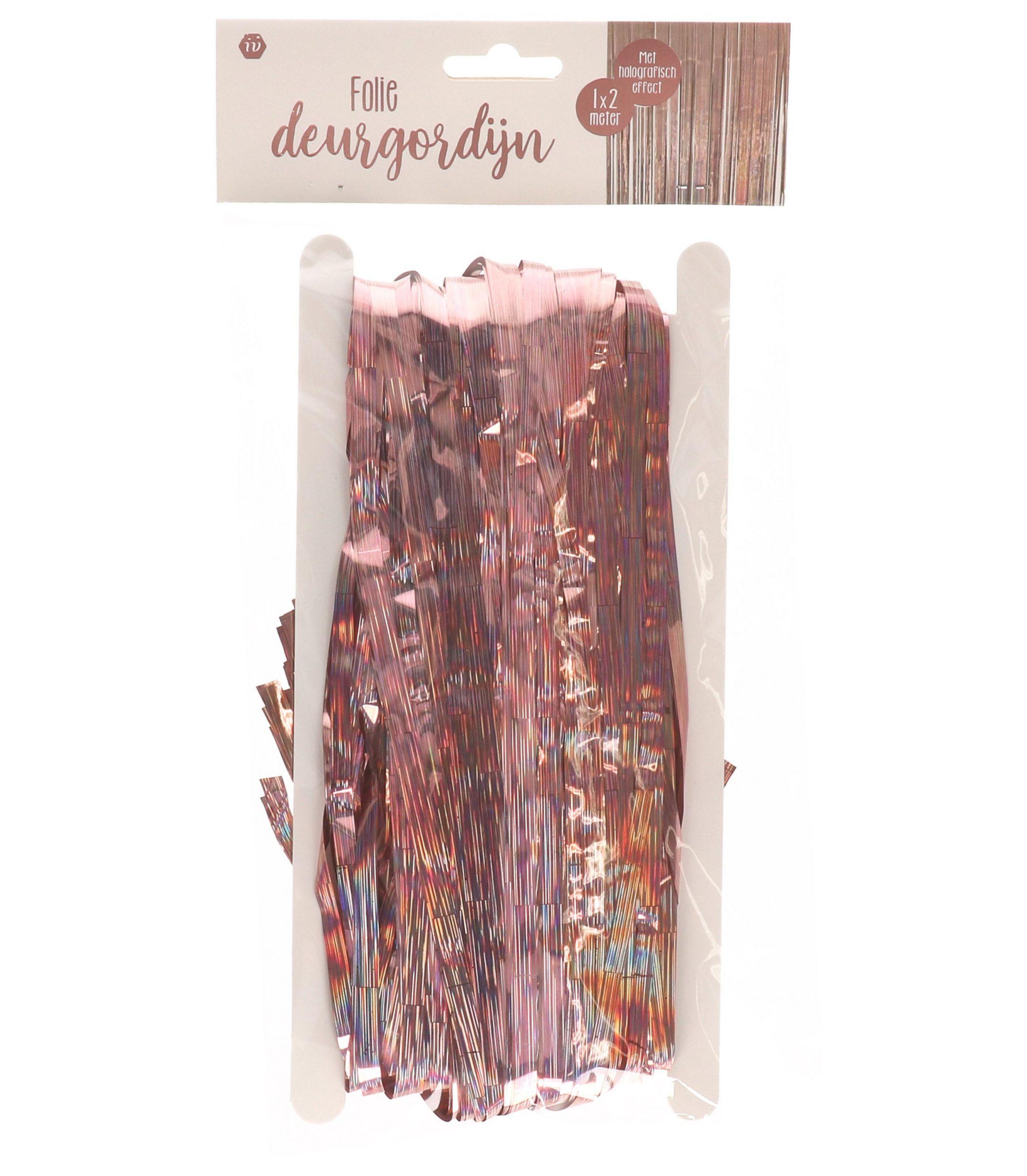 Foliedeurgordijn rose-goud/holografisch
