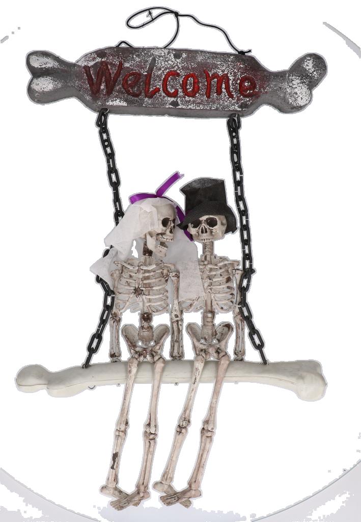 Skeletjes op schommel