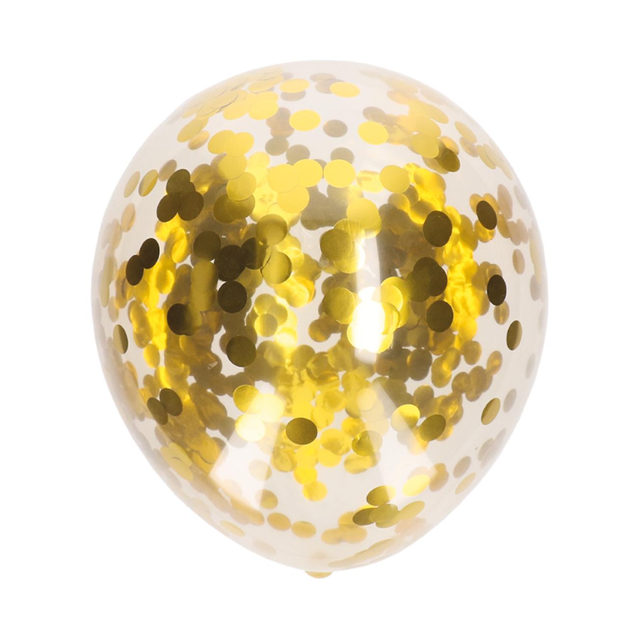 Ballonnen confetti goud 5 stuks