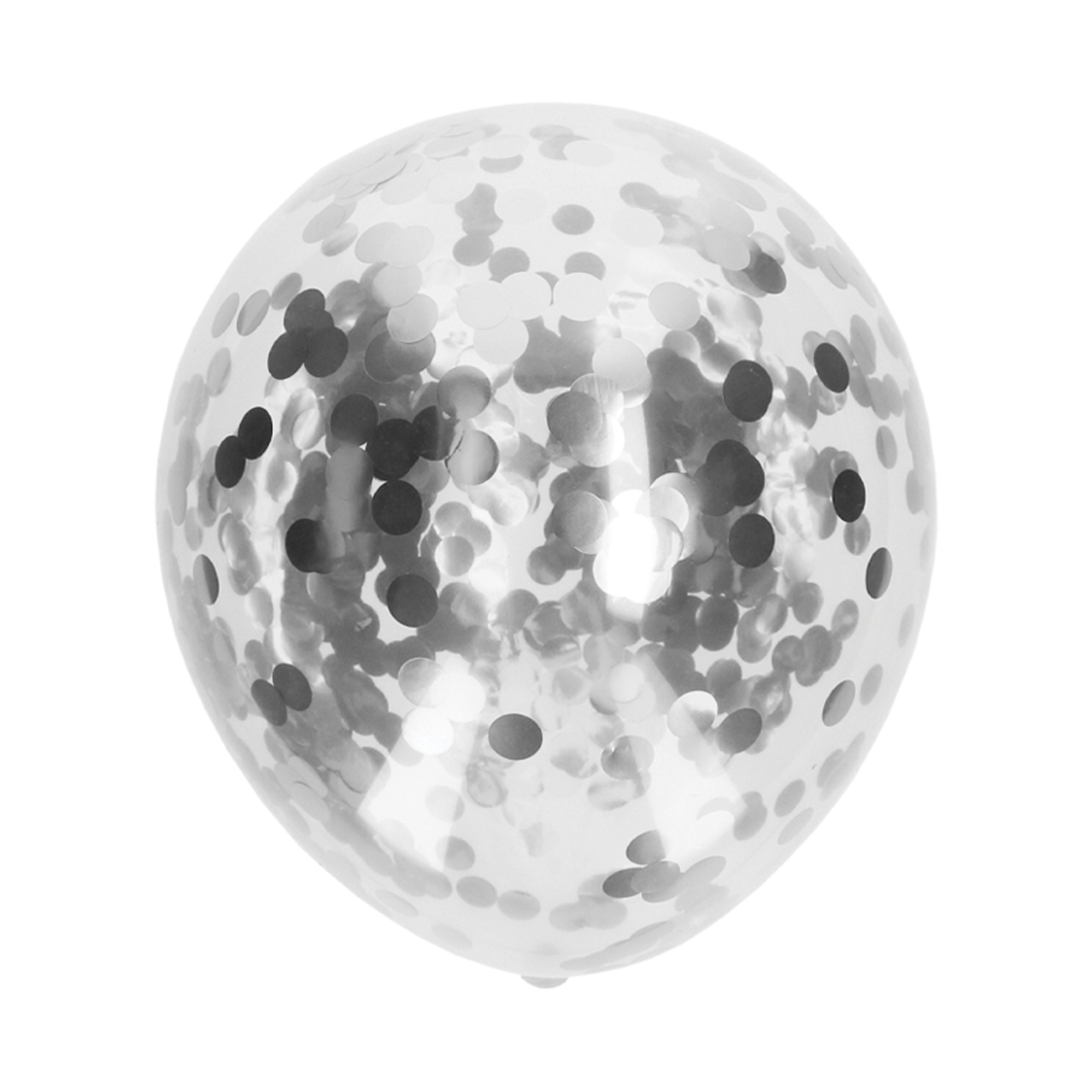Ballonnen confetti zilver 5 stuks
