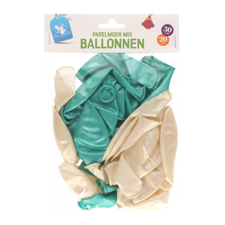 Ballonnen parelmoer/groen 30cm 20 st
