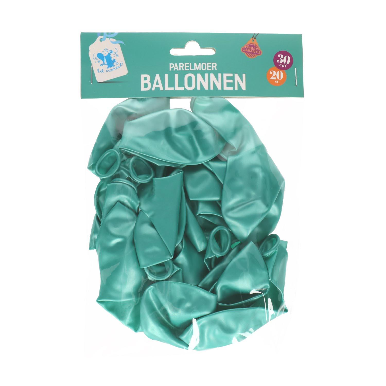 Ballonnen parelmoer groen 20 st