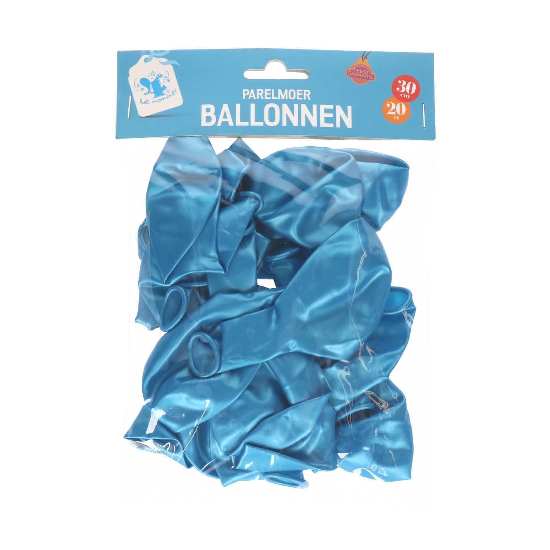 Ballonnen parelmoer licht blauw 20 st