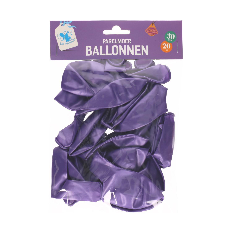 Ballonnen parelmoer paars 20 st