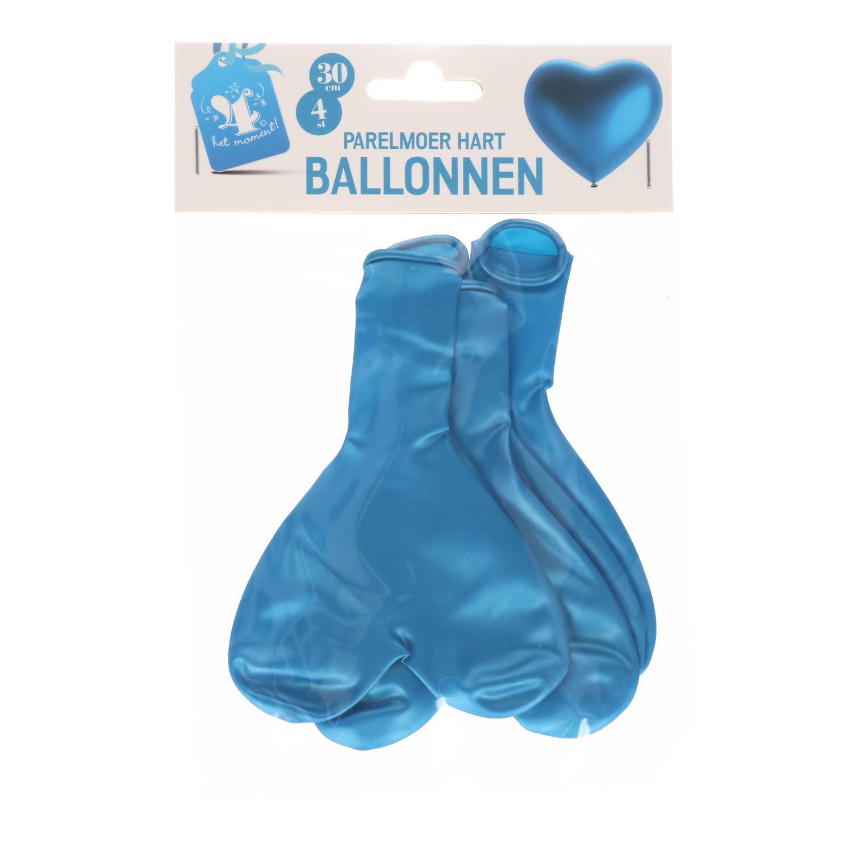 Hart ballonnen parelmoer blauw 30cm 4 stuks