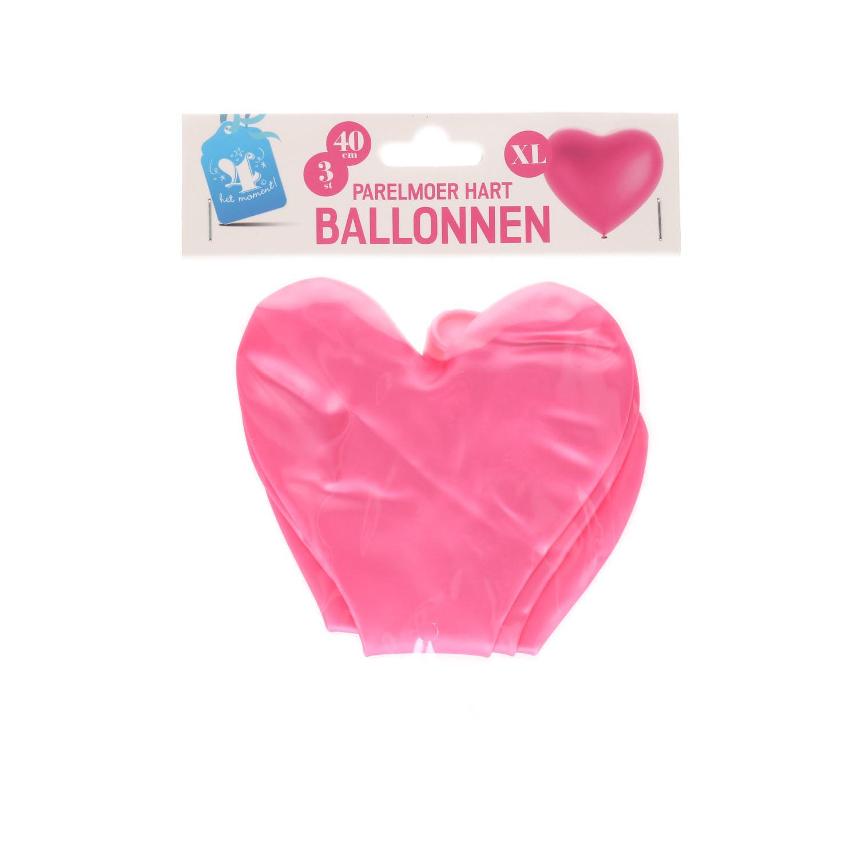 Hart ballonnen parelmoer roze 40cm 3 stuks
