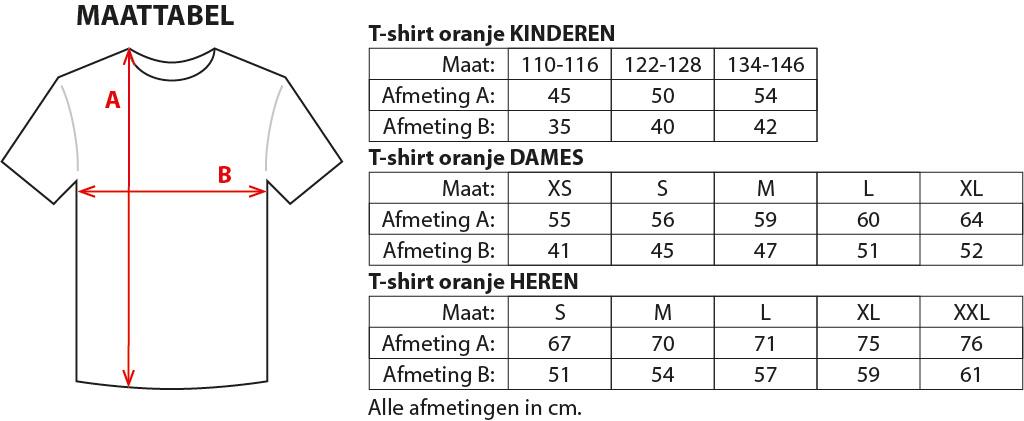 T-shirt oranje maat 110-116