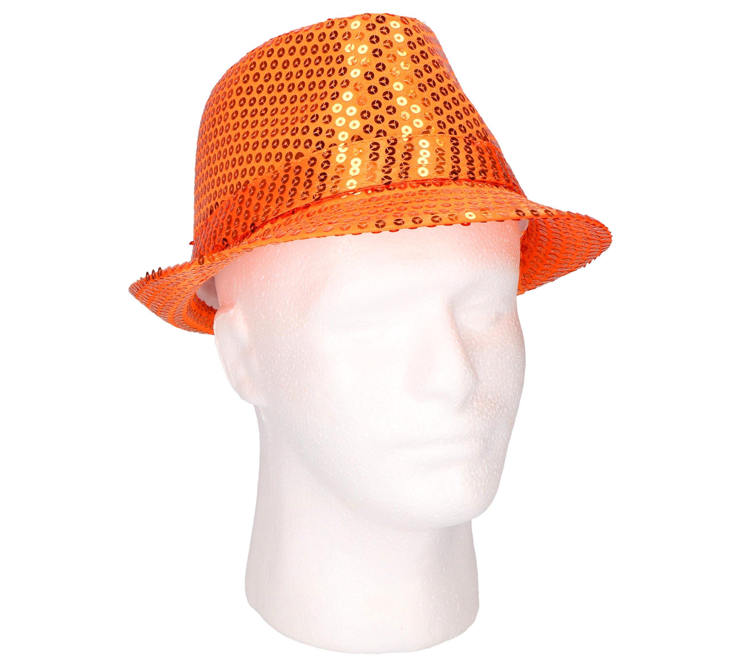 Hoed oranje met pailletten