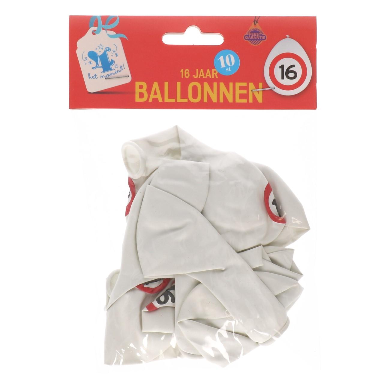 Ballonnen 16 jaar 10 stuks verkeersbord