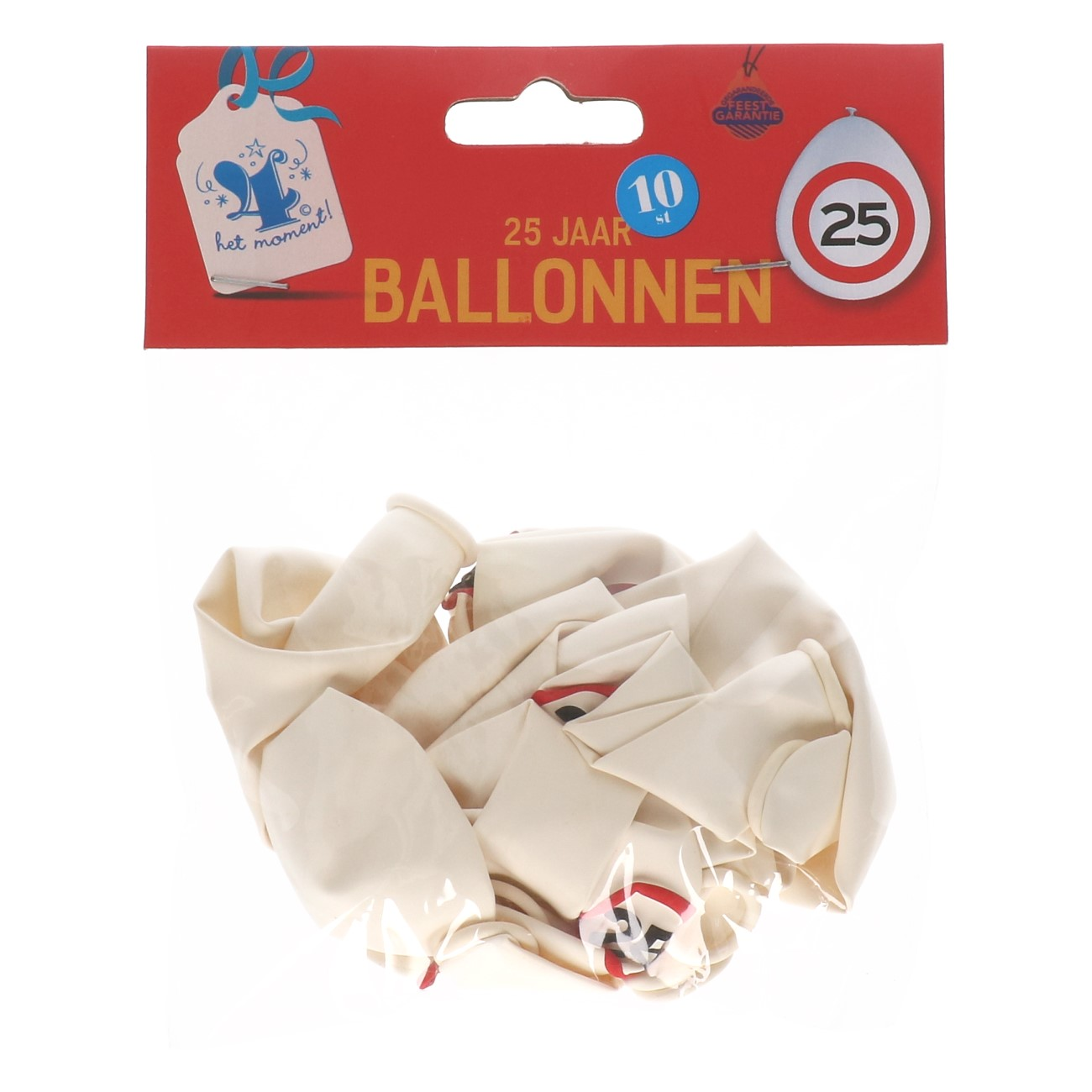 Ballonnen 25 jaar 10 stuks verkeersbord