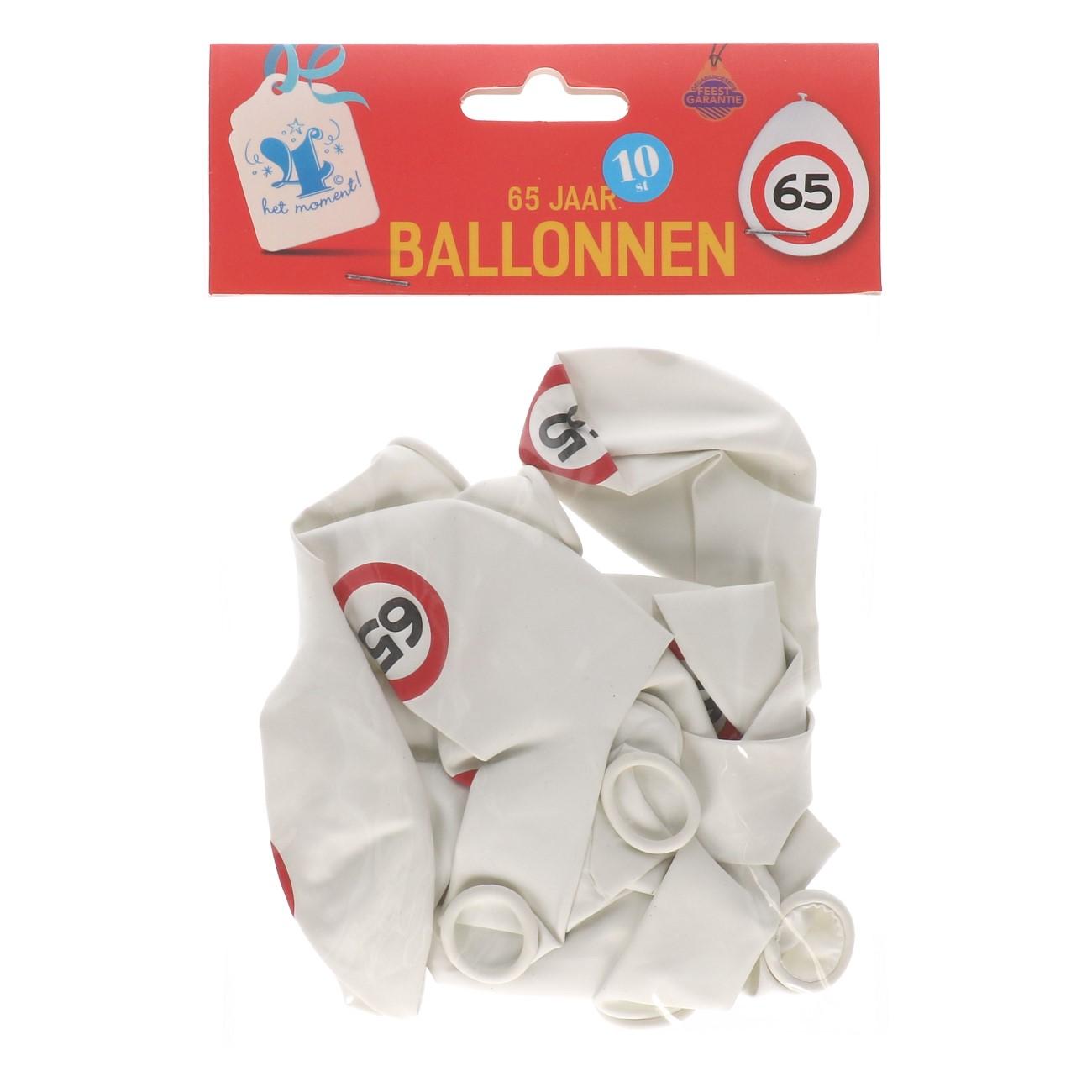 Ballonnen 65 jaar 10 stuks verkeersbord