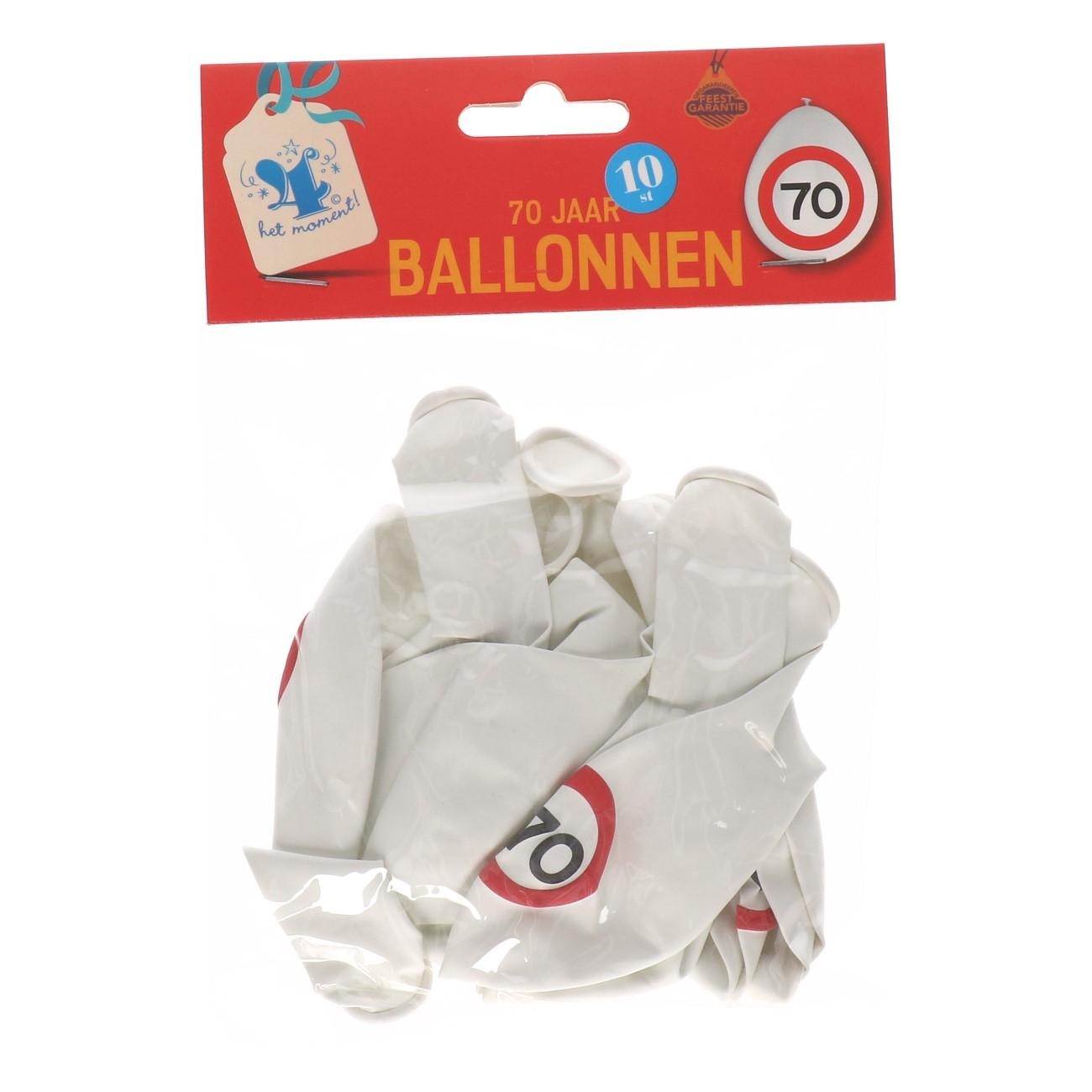 Ballonnen 70 jaar 10 stuks verkeersbord