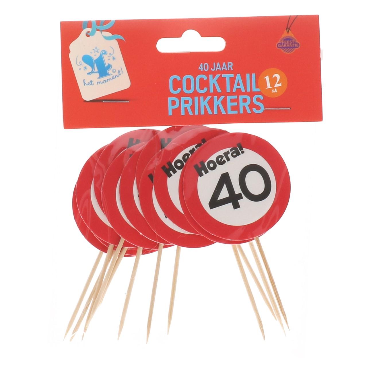 Cocktailprikkers 40 jaar 12 stuks