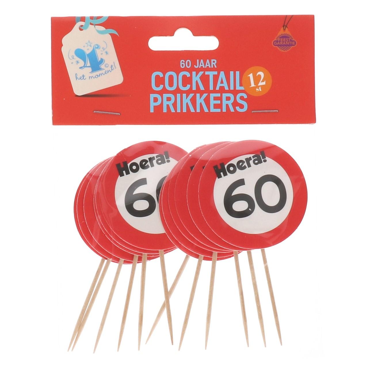 Cocktailprikkers 60 jaar 12 stuks